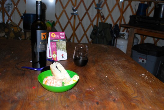 Snowshoed in about .5 mile to my yurt. Celebrated with a wine/cheese snack