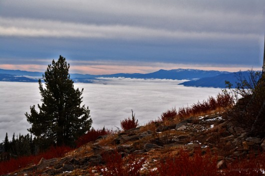 McCall and Payette Lake buried under a blanket of early morning fog.