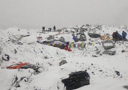 Everest Base Camp, Nepal, April 25, 2015.  (Photo: Azim Afif via AP)