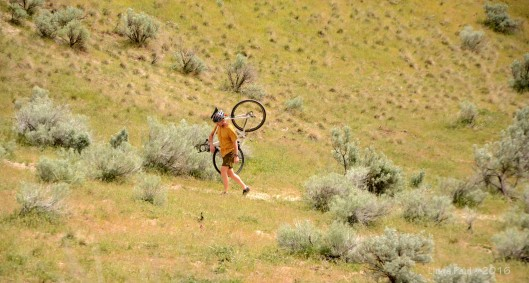 It did my huffing and puffing pride good to see this hunk resort to walking his bike up the hill.