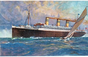 "Postcard: United American Lines Inc. On board the triple-screw steamer ""Resolute"""