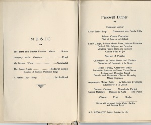 Menu for last meal on board S.S.