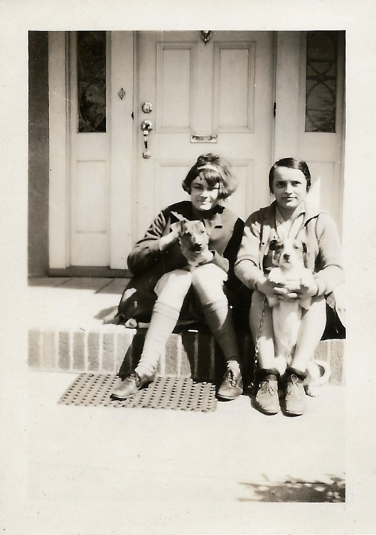Mom & Ellen with their dogs; spring 1929