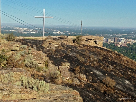 """View from the top . . . the cross was """"miraculously"""" saved by it's lofty position, bolted into granite that doesn't burn"""