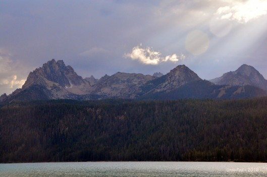 God-light shines on Horstman and Thompson peaks.